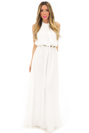 OPEN BACK HALTER MAXI DRESS - White - Haute & Rebellious