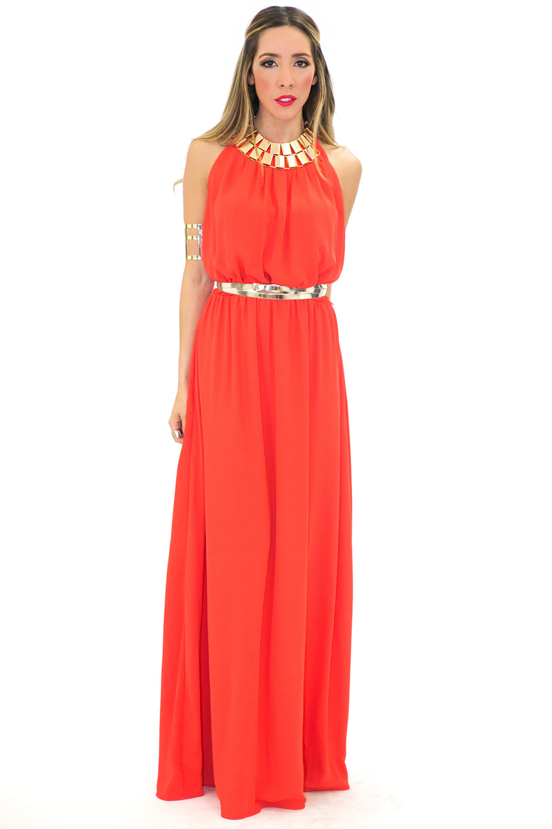 OPEN BACK HALTER MAXI DRESS - Orange/Red - Haute & Rebellious