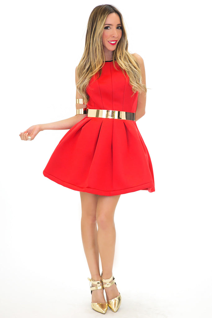 STRUCTURED SCUBA DRESS - Red