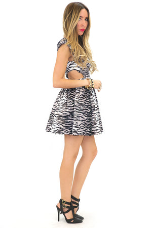 ZEBRA PRINT V-NECK CUTOUT DRESS - Haute & Rebellious
