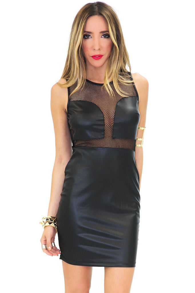 MESH VEGAN LEATHER BODYCON DRESS