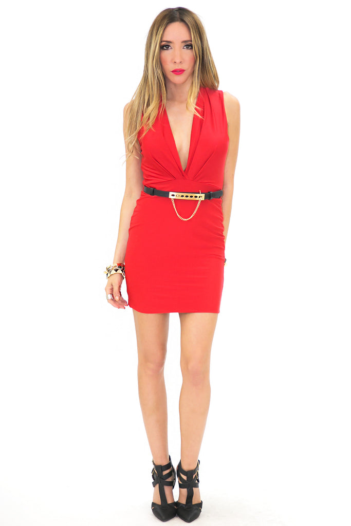 SLEEVELESS BODYCON DRESS WITH BELT