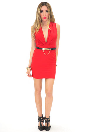 SLEEVELESS BODYCON DRESS WITH BELT - Haute & Rebellious