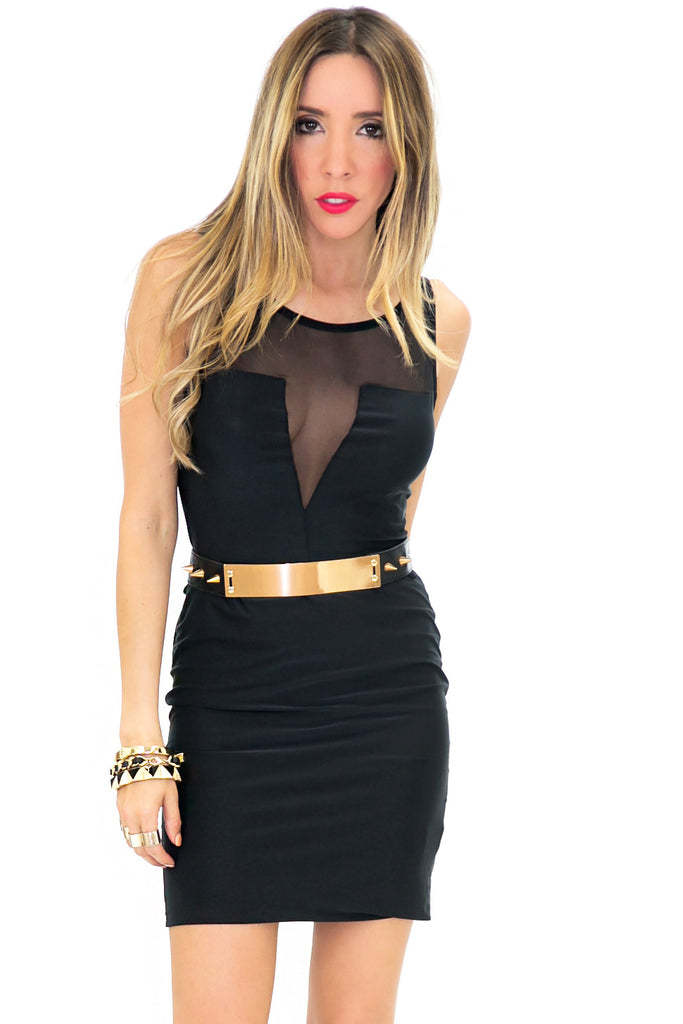 VENITI SLEEVELESS MESH CUTOUT DRESS