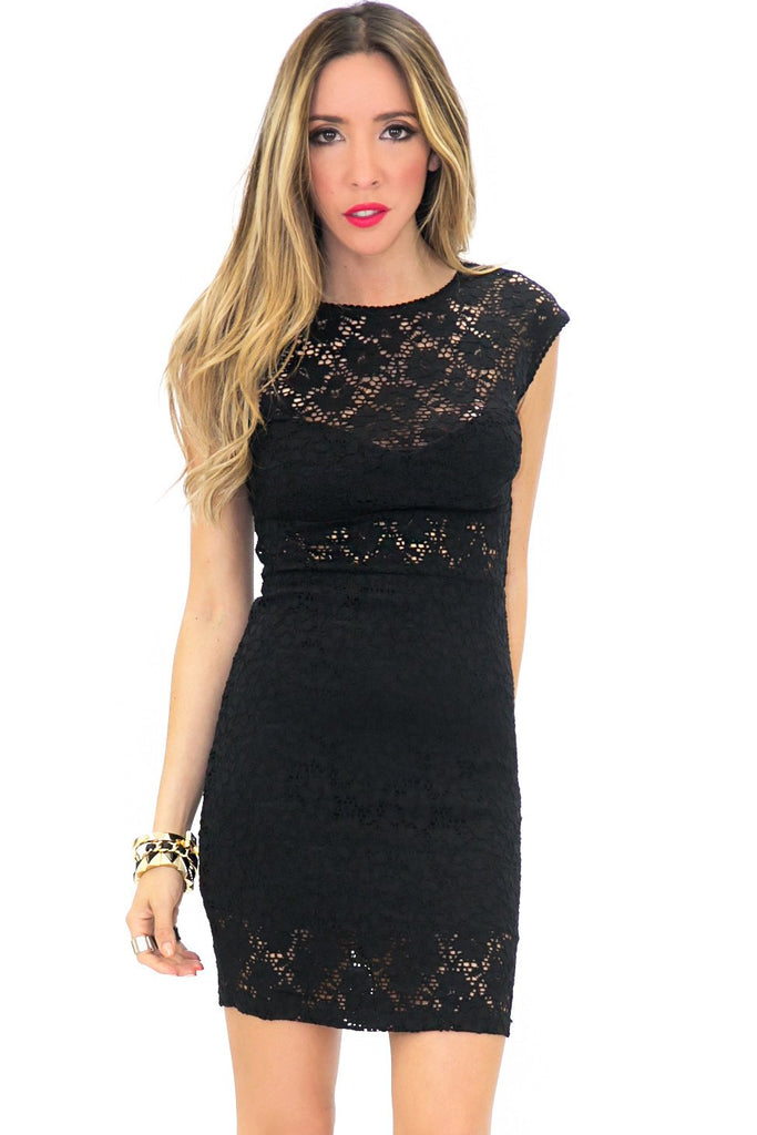LEIA LACE DETAIL BODYCON DRESS - Black