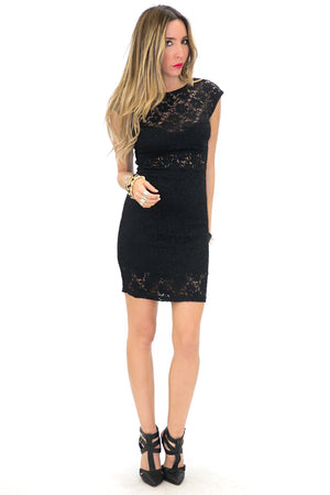 LEIA LACE DETAIL BODYCON DRESS - Black - Haute & Rebellious