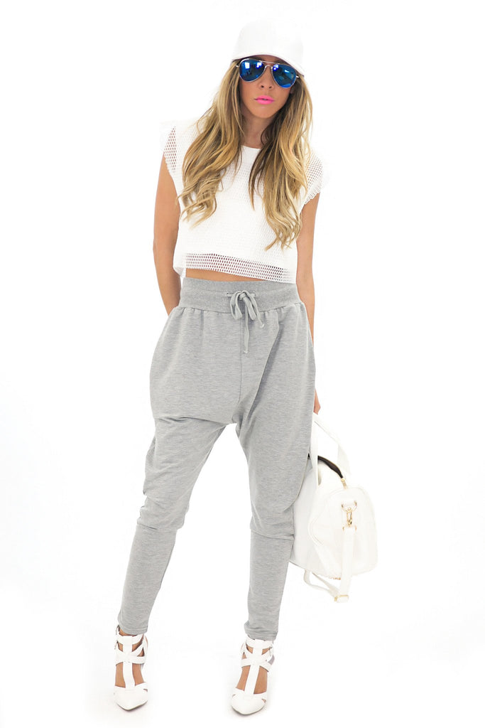 BACK POCKET HAREM PANTS - Grey