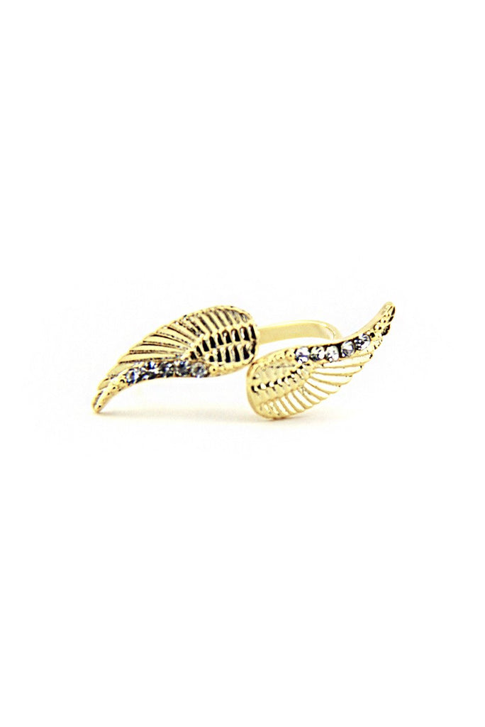 ANGEL WINGS & CRYSTALS RING - Gold - Haute & Rebellious