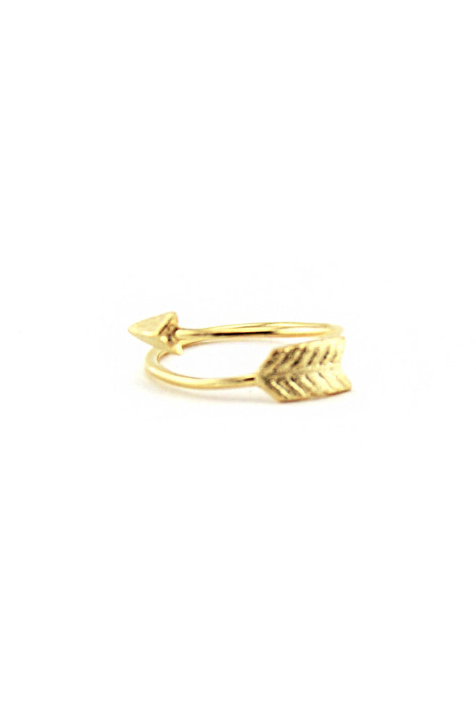PETITIE BENT BOW-N-ARROW RING - Gold