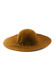 FEATHER TRIM WOOL WIDE BRIM HAT - Brown