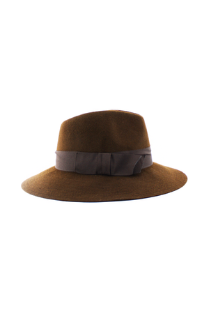 LONG BRIM WOOL STITCHED FEDORA - Brown - Haute & Rebellious