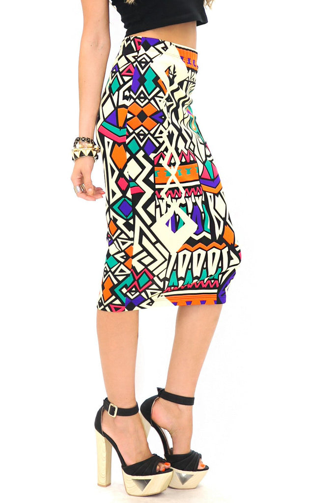 GEO PRINT HIGH-WAISTED PENCIL SKIRT