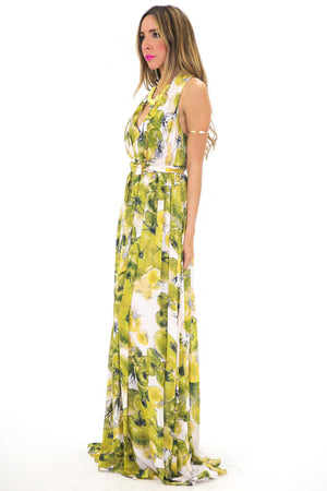 APPLE PRINT V-NECK LONG DRESS - Haute & Rebellious