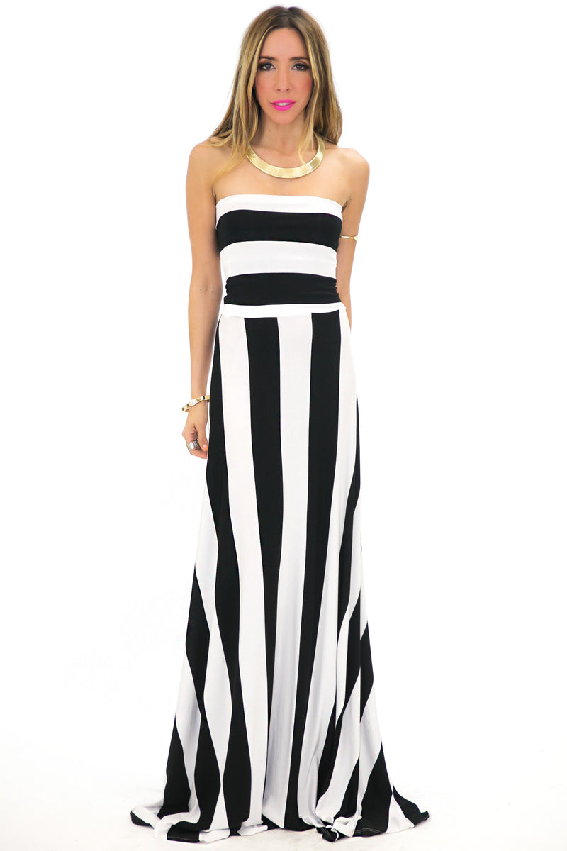 WIDE STRIPE TUBE MAXI DRESS - Haute & Rebellious