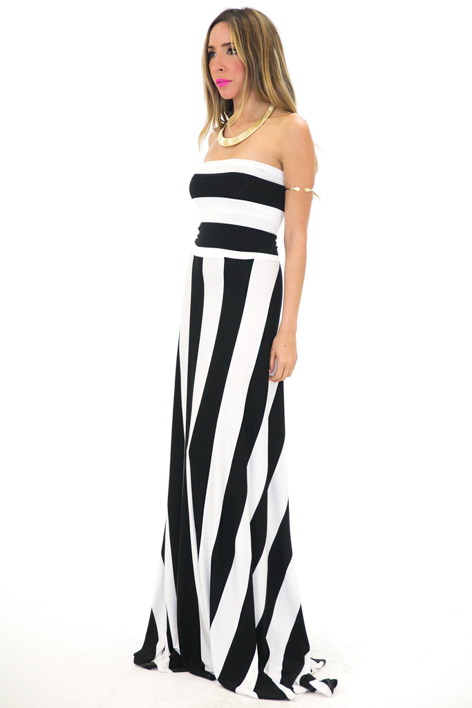 WIDE STRIPE TUBE MAXI DRESS