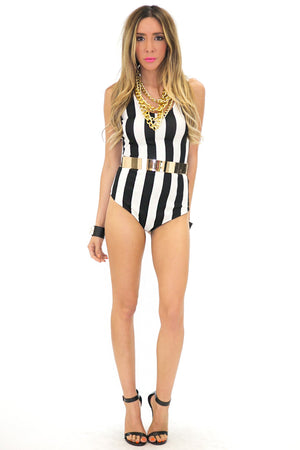 A-LA-COCO WIDE STRIPE BODYSUIT - Haute & Rebellious