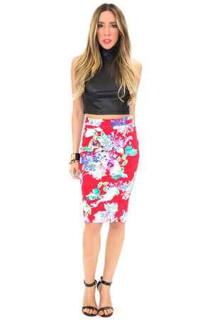 TROPICAL PRINT HIGH-WAISTED PENCIL SKIRT - Haute & Rebellious