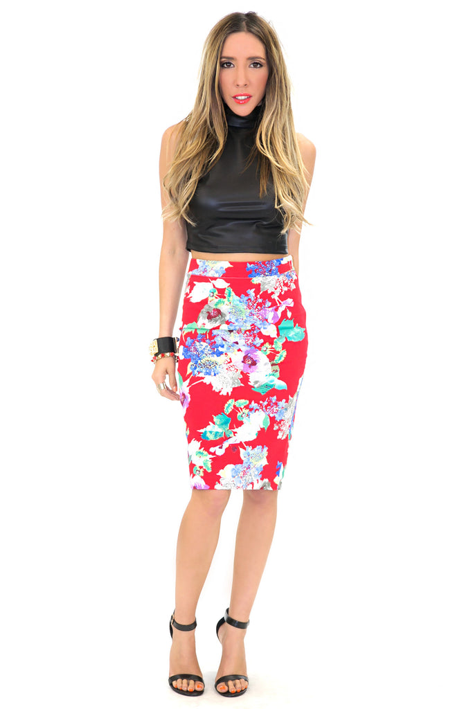 TROPICAL PRINT HIGH-WAISTED PENCIL SKIRT