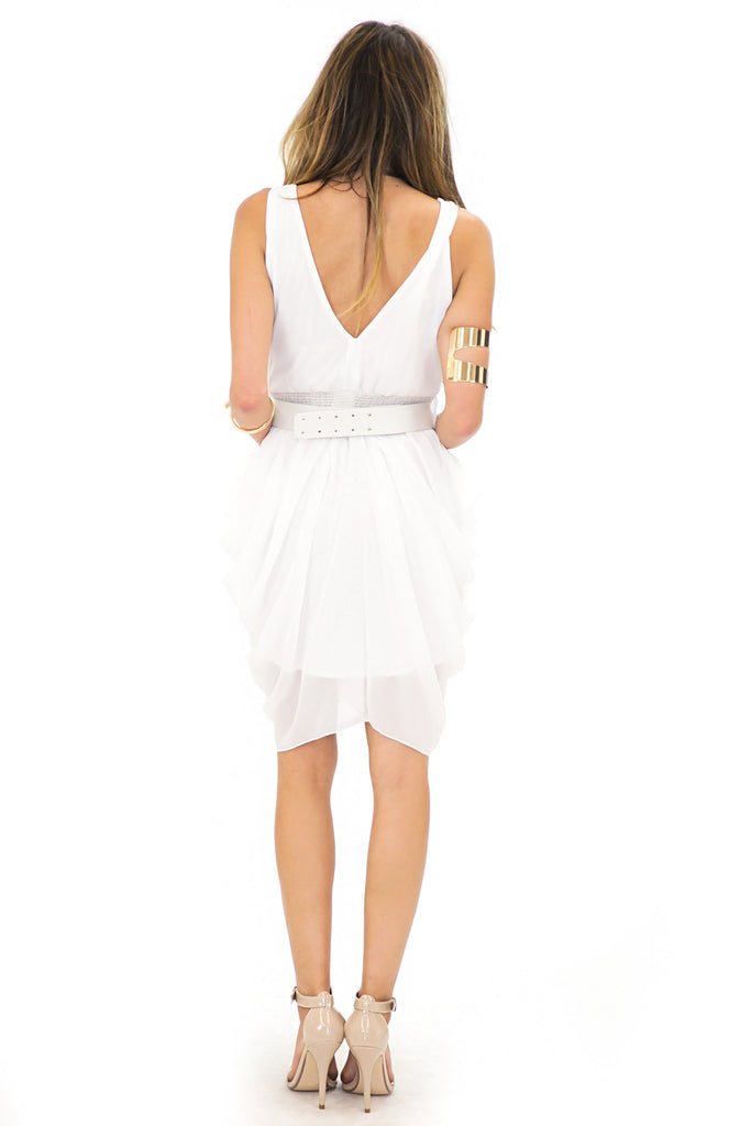 V-NECK CHIFFON DRESS WITH BELT