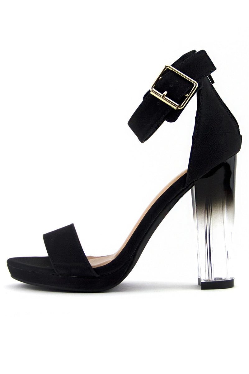 RAYVEN CLEAR HEEL - Midnight Black - Haute & Rebellious