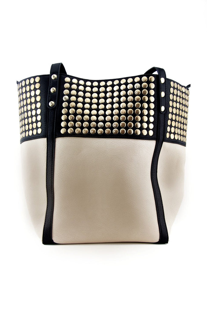 GOLD STUDDED CONTRAST TOTE