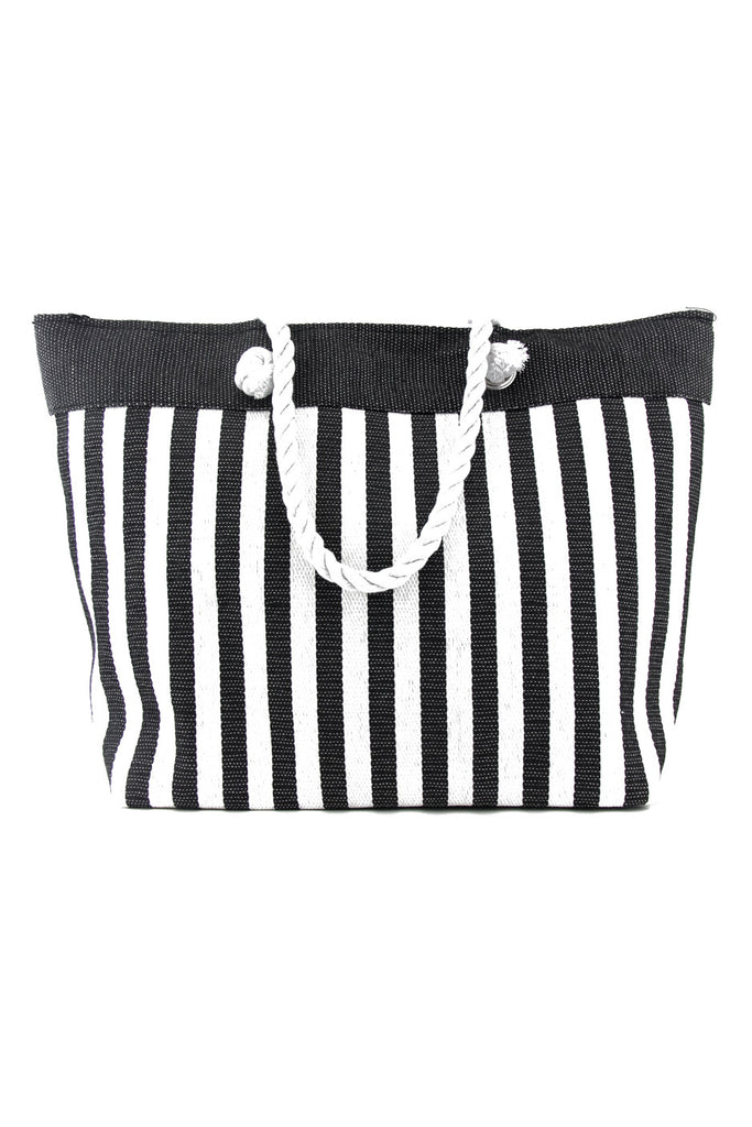 STRIPED LARGE TOTE BEACH BAG
