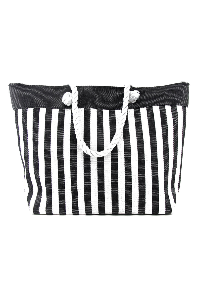 STRIPED LARGE TOTE BEACH BAG - Haute & Rebellious