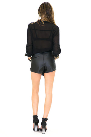 BEACON VEGAN LEATHER SKORT - Black - Haute & Rebellious