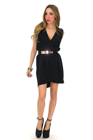 KIERA SLEEVELESS WRAP DRESS - Black - Haute & Rebellious