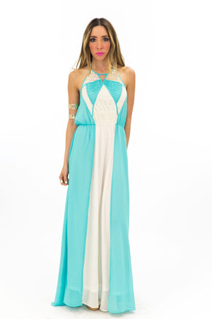 GEOMETRIC LACE TRIM MAXI DRESS - Haute & Rebellious