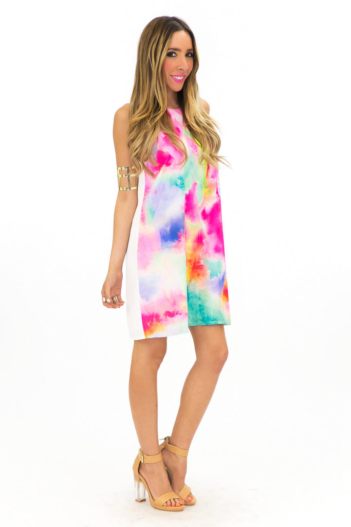 TIA TIE-DYED PRINTED SHIFT DRESS
