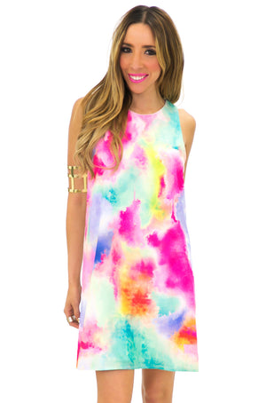 TIA TIE-DYED PRINTED SHIFT DRESS - Haute & Rebellious