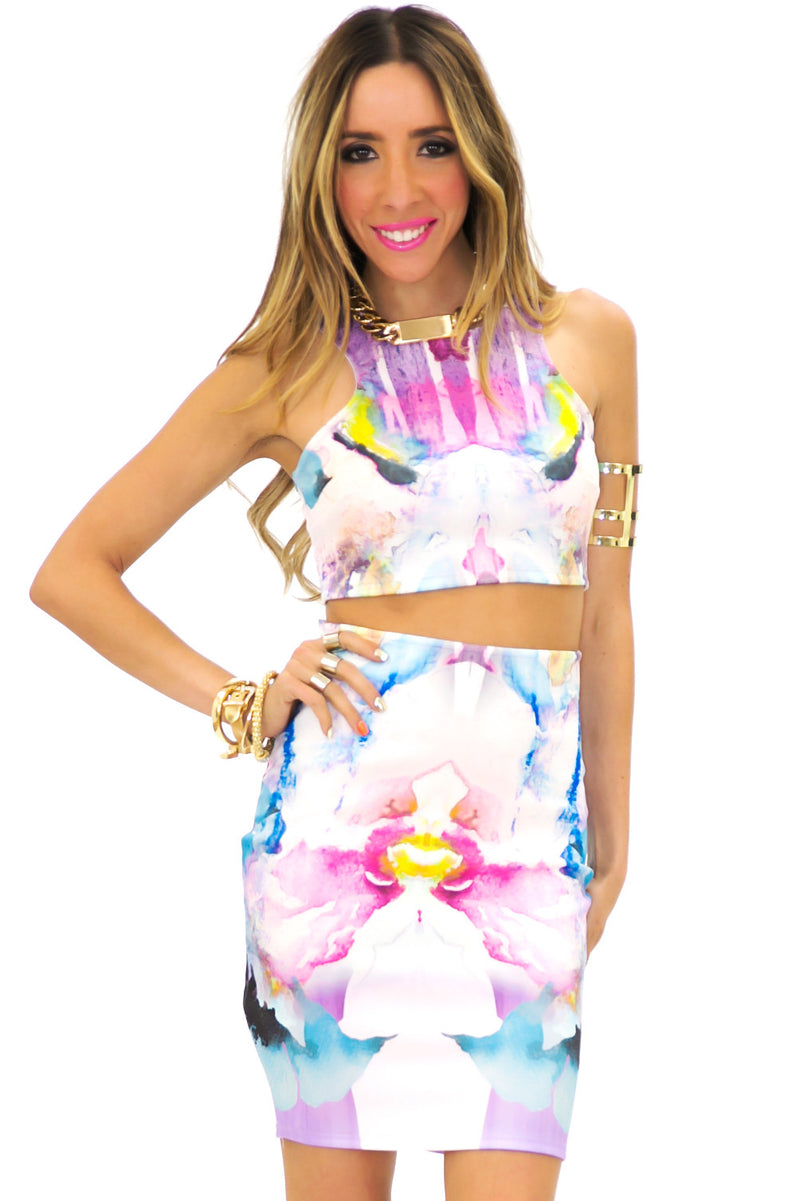 WATERCOLOR HIGH-WAISTED SKIRT - Haute & Rebellious