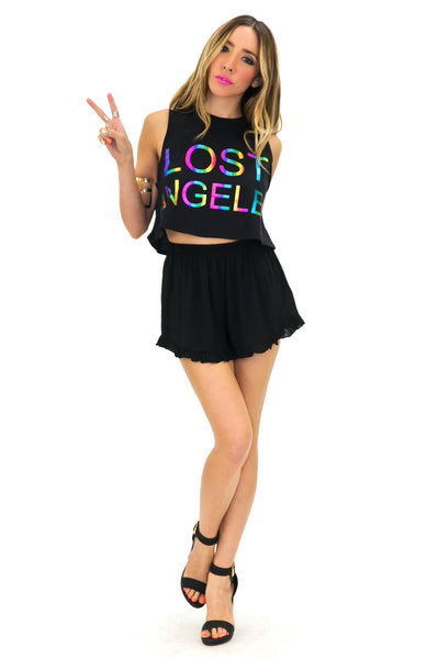 LOST ANGELES METALLIC CROP TOP - Haute & Rebellious