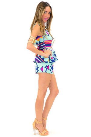 TRIBAL GEO SHORTS - Mint - Haute & Rebellious