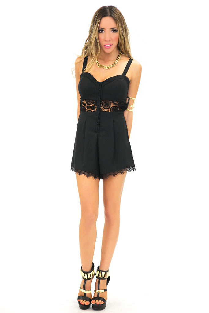 LACEY LACE DETAIL ROMPER - Black