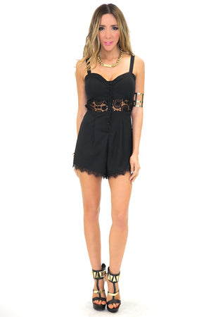 LACEY LACE DETAIL ROMPER - Black - Haute & Rebellious