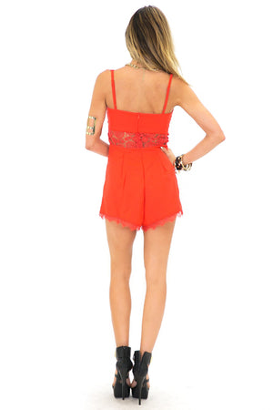 LACEY LACE DETAIL ROMPER - Red - Haute & Rebellious