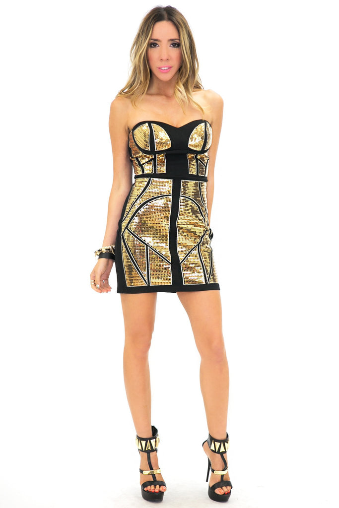 KORI SEQUIN DRESS - Black