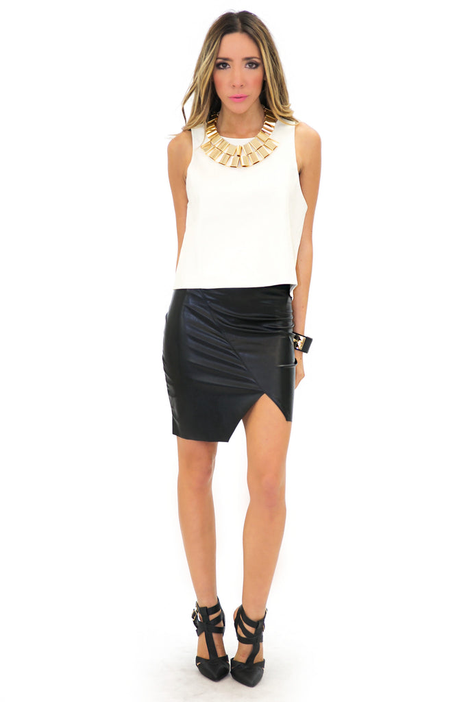 REGAN VEGAN LEATHER SKIRT - Black
