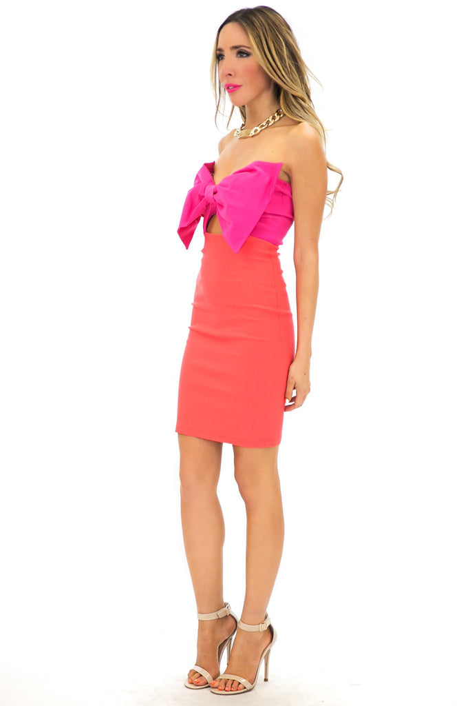 COLORBLOCK BOW-TIE BODYCON DRESS