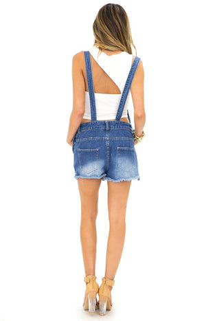 BANNON DENIM OVERALL SHORTS - Haute & Rebellious