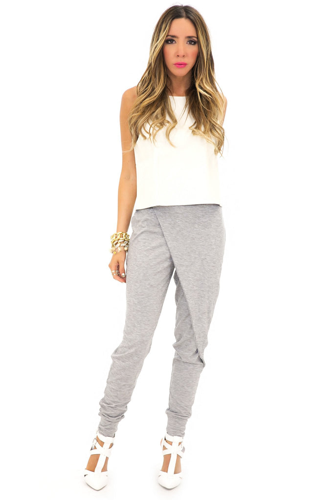 MARY JANE HAREM PANTS - Heather Grey