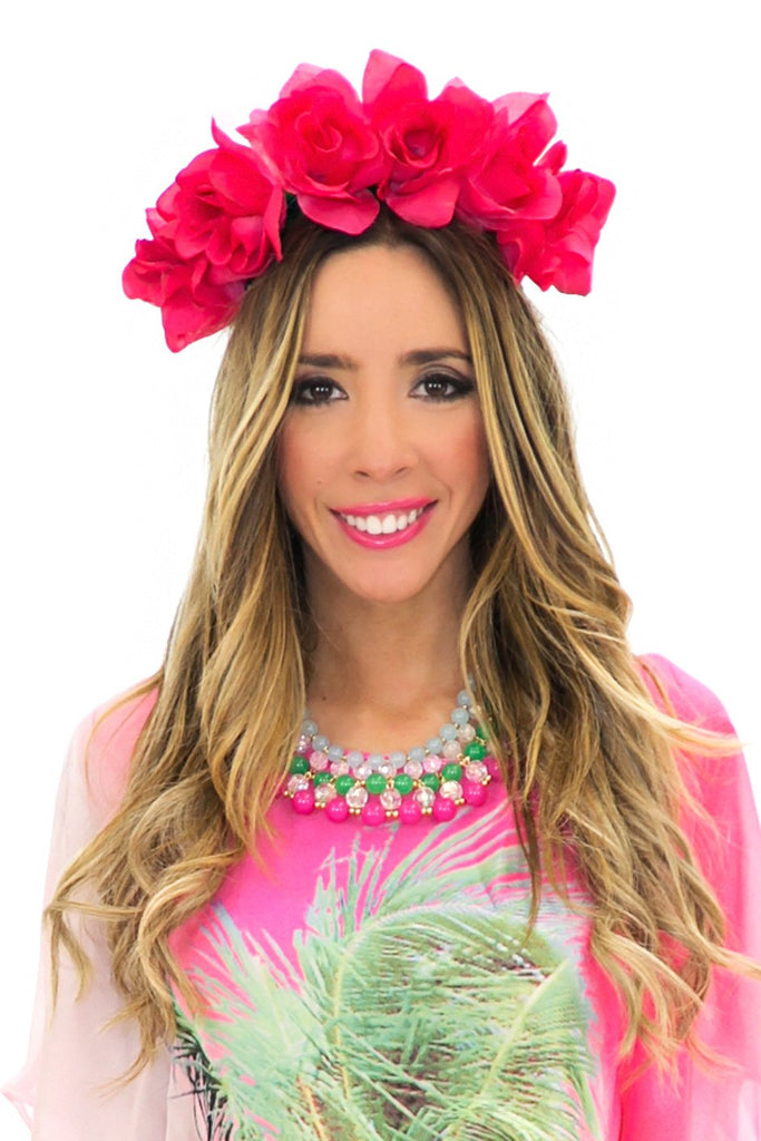 CHERRY BLOSSOM FLOWER CHILD HEADBAND - Fuchsia
