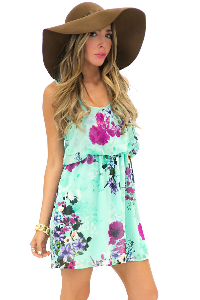 VIA FLORAL PRINT CHIFFON DRESS