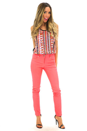 NEON COLOR SKINNY PANT - Coral - Haute & Rebellious
