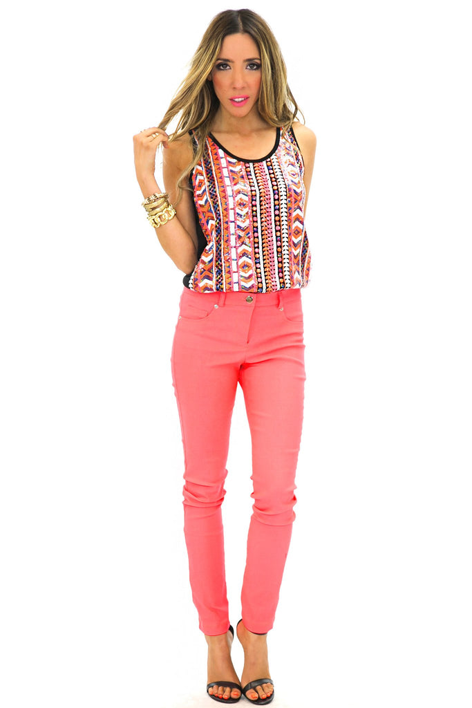 NEON COLOR SKINNY PANT - Coral