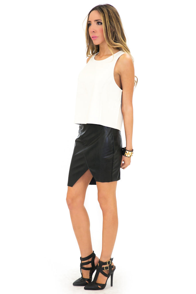 VENA VEGAN LEATHER TOP - White