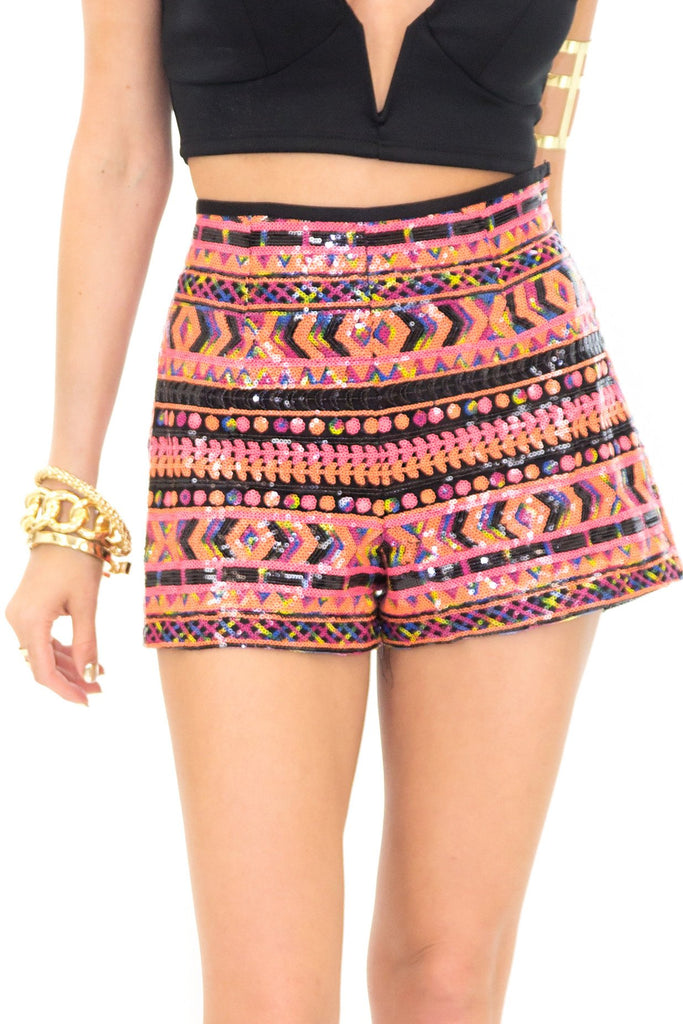 AMORA TRIBAL SEQUIN SHORTS - Haute & Rebellious