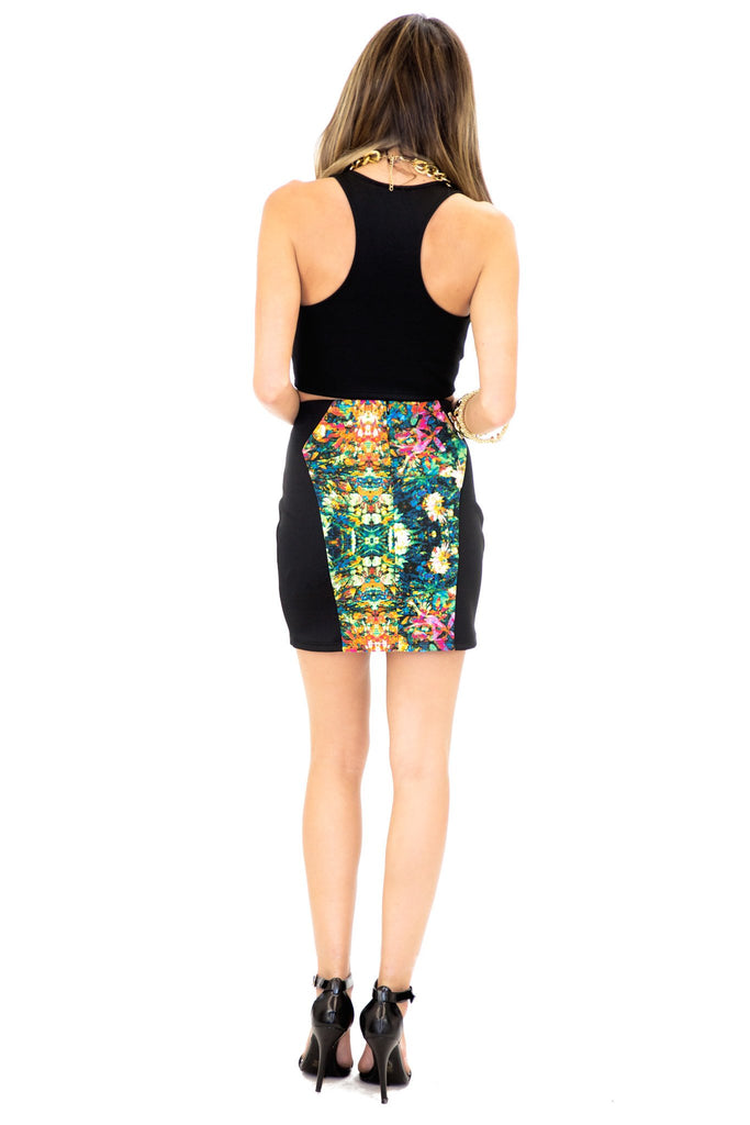 MIRROR PRINT MINI SKIRT - Green
